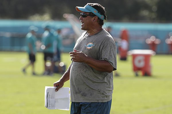 Miami Dolphins offensive coordinator Dowell Loggains watches at the NFL football team's training camp, Friday, July 27, 2018, in Davie, Fla. (AP Photo/Lynne Sladky)