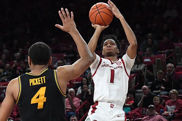 Arkansas guard Isaiah Joe shoots during a game against Missouri on Wednesday, Jan. 23, 2019, in Fayetteville.