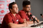 Arkansas center fielder Dominic Fletcher (left) speaks Thursday, Jan. 24, 2019, alongside starting pitcher Isaiah Campbell with members of the media about the coming season inside the team's Pitching Development Center at Baum Stadium in Fayetteville. Arkansas hosts Eastern Illinois at 3 p.m. Feb. 15 at Baum Stadium to open the 2019 season.