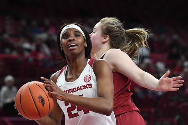 Arkansas forward Taylah Thomas goes up for a shot during a game against Alabama on Thursday, Jan. 24, 2019, in Fayetteville.