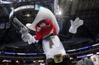 Texas Tech mascot, Raider Red, motivates fans during a second-round game against Florida at the NCAA men's college basketball tournament in Dallas, Saturday, March 17, 2018. (AP Photo/Tony Gutierrez)