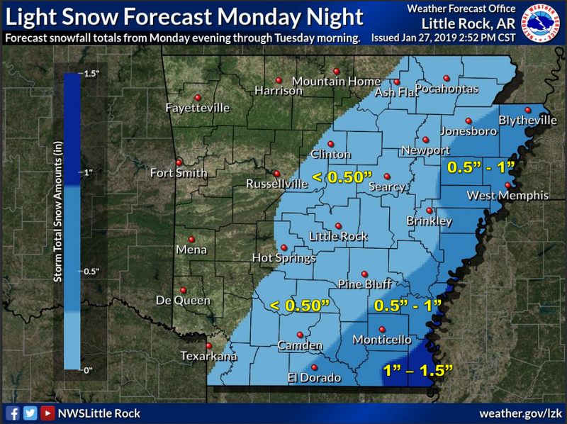 Cold Front To Bring Winter Weather To Arkansas Agency Says