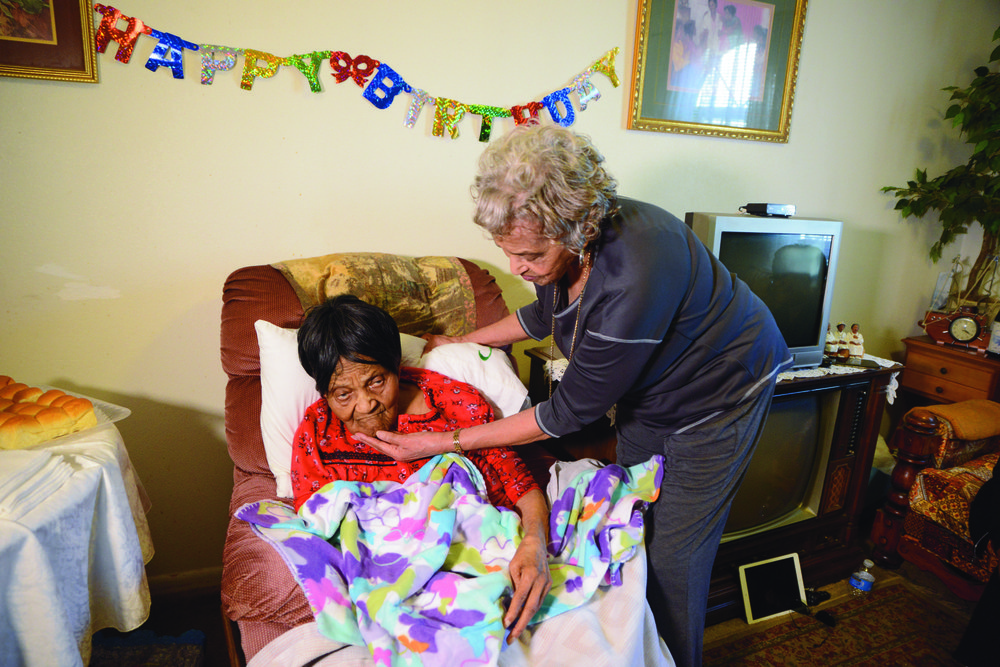 Alice McKeller (right), 82, talks with her mother, Edna Runyon, during her 111th birthday celebration on Jan. 25, 2019, in Magnolia.