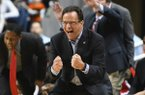 Georgia head coach Tom Crean celebrates a score against Auburn during the second half of an NCAA college basketball game Saturday, Jan. 12, 2019, in Auburn, Ala. (AP Photo/Julie Bennett)