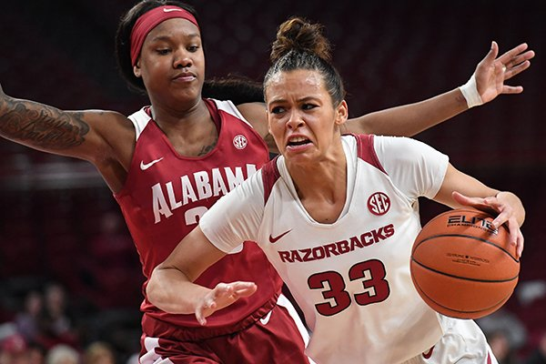 Arkansas' Chelsea Dungee drives past Alabama's Shaquera Wade during a game Thursday, Jan. 24, 2019, in Fayetteville. The Razorbacks won 72-61.