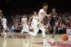 Arkansas guard Isaiah Joe chases a loose ball during a game against Georgia on Tuesday, Jan. 29, 2019, in Fayetteville.