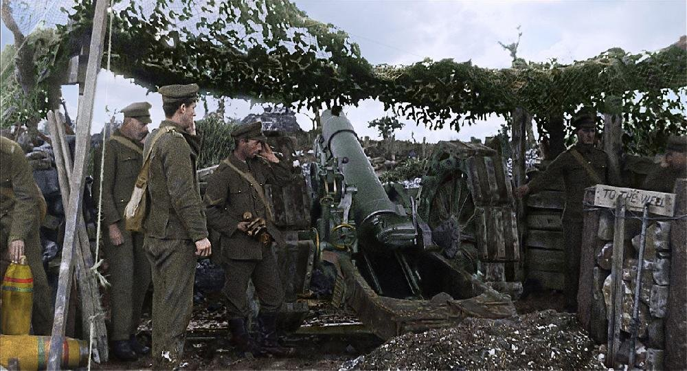 """A restored and colorized image showing a moment from Peter Jackson's Great War documentary They Shall Not Grow Old, the title of which is extracted(with """"grow"""" and """"not"""" transposed) from Laurence Binyon's 1914 poem, For the Fallen."""