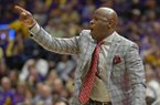 Arkansas coach Mike Anderson shouts instructions to his players during the first half of an NCAA college basketball game against LSU on Saturday, Feb. 2, 2019, in Baton Rouge, La. (AP Photo/Bill Feig)