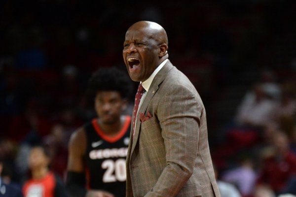 Arkansas coach Mike Anderson directs his team Tuesday, Jan. 29, 2019, during the second half of play against Georgia in Bud Walton Arena. Visit nwadg.com/photos to see more photographs from the game.