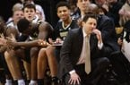 Vanderbilt coach Bryce Drew, right, reacts to a foul call during the second half of the team's NCAA college basketball game against Missouri on Saturday, Feb. 2, 2019, in Columbia, Mo. Missouri won 77-67. (AP Photo/L.G. Patterson)