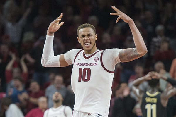 Arkansas forward Daniel Gafford (10) celebrates after the Razorbacks defeated Vanderbilt 69-66 on Tuesday, Feb. 5, 2019, in Fayetteville.
