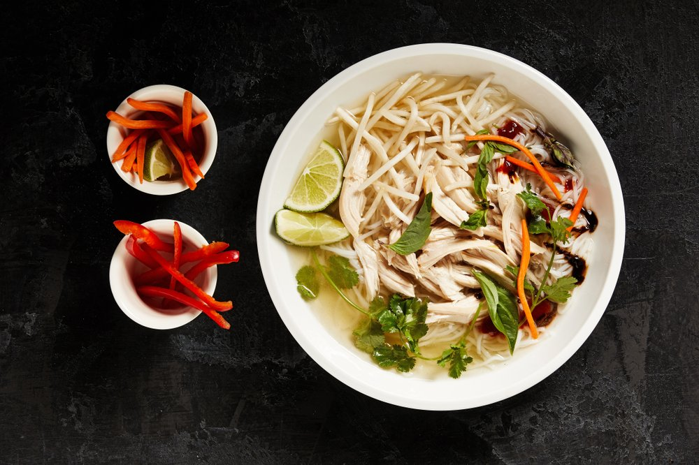 Faux Pho is a no-fuss, flavorful substitute for those who don't have hours to roast bones and stand over a slowly simmering pot. MUST CREDIT: Photo for The Washington Post by Tom McCorkle; food styling by Lisa Cherkasky
