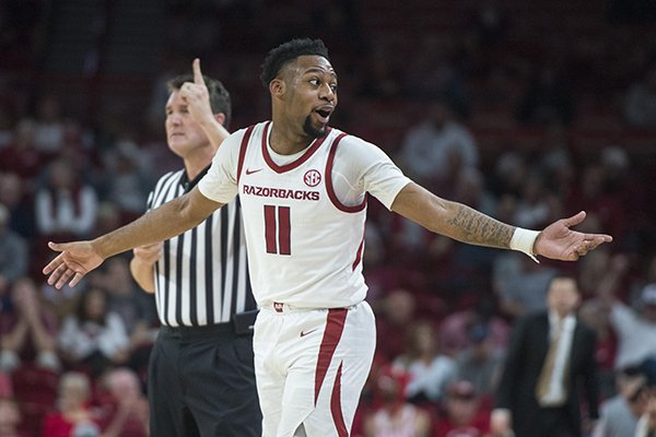 Arkansas guard Keyshawn Embery-Simpson made the go-ahead 3-pointer with 14.8 seconds remaining in the Razorbacks' 69-66 win over Vanderbilt on Tuesday, Feb. 5, 2019, in Fayetteville.