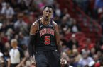 Chicago Bulls forward Bobby Portis (5) reacts after scoring during the second half of an NBA basketball game against the Miami Heat, Wednesday, Jan. 30, 2019, in Miami. The Bulls won 105-89. (AP Photo/Lynne Sladky)
