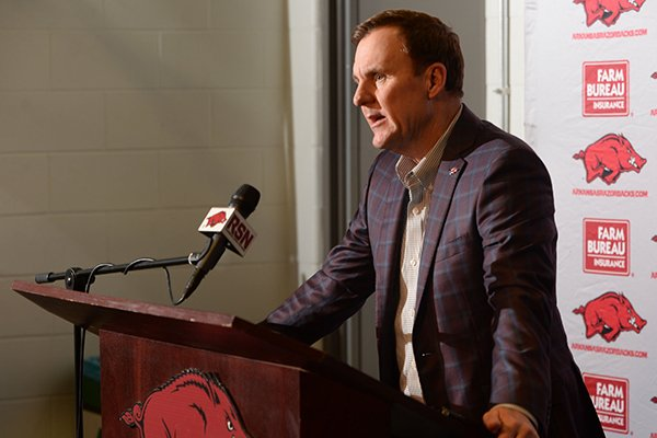 Arkansas football coach Chad Morris speaks Wednesday, Feb. 6, 2019, during a press conference to announce the Razorbacks' football signees in the Fred W. Smith Football Center on the university campus in Fayetteville.