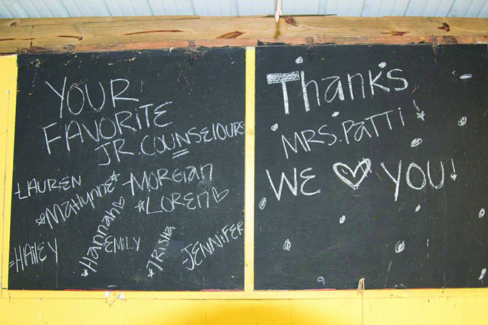 A special message left for Simpson by other camp counselors at last year's Camp Wotapi day camp. Contributed photo