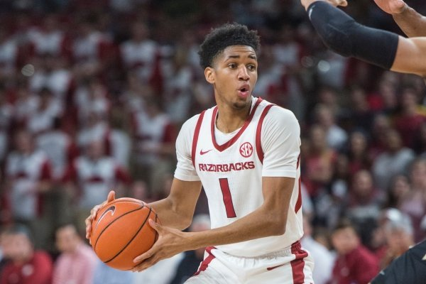 Isaiah Joe, Arkansas guard, in the first half vs Vanderbilt Tuesday, Feb. 5, 2019, at Bud Walton Arena in Fayetteville.