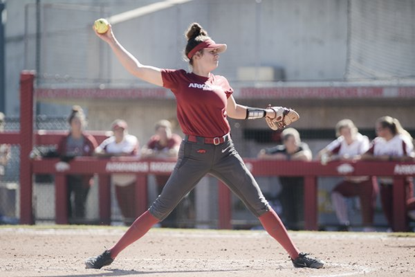 Arkansas pitcher Autumn Storms winds up during a scrimmage against Oklahoma on Sunday, Oct. 28, 2018, in Fayetteville.