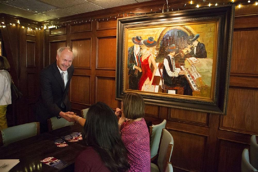 Among the patrons of Cattleman's Steak House in Texarkana is Gov. Asa Hutchinson, shown here greeting visitors when he was a candidate for the office in 2014.