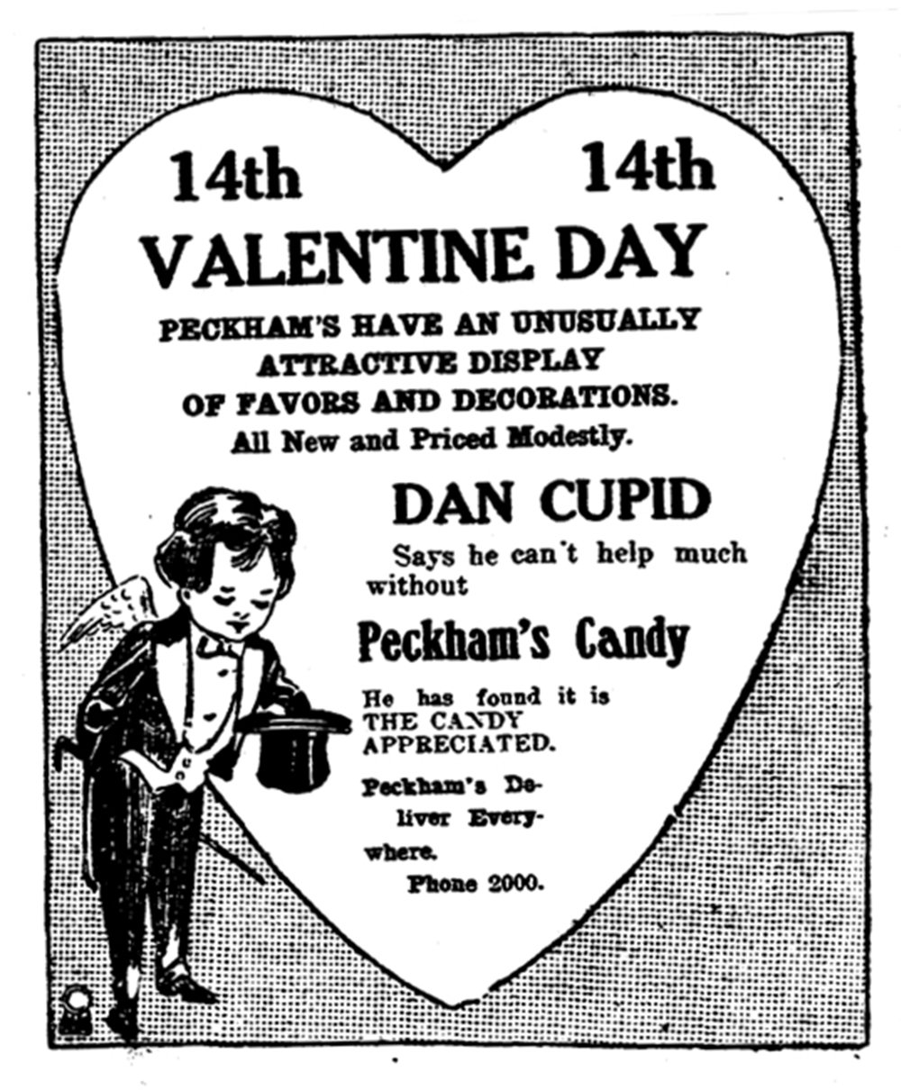 Dan Cupid can't do his thing without good candy, according to this ad in the Feb. 6, 1913, Arkansas Gazette. (Arkansas Democrat-Gazette)