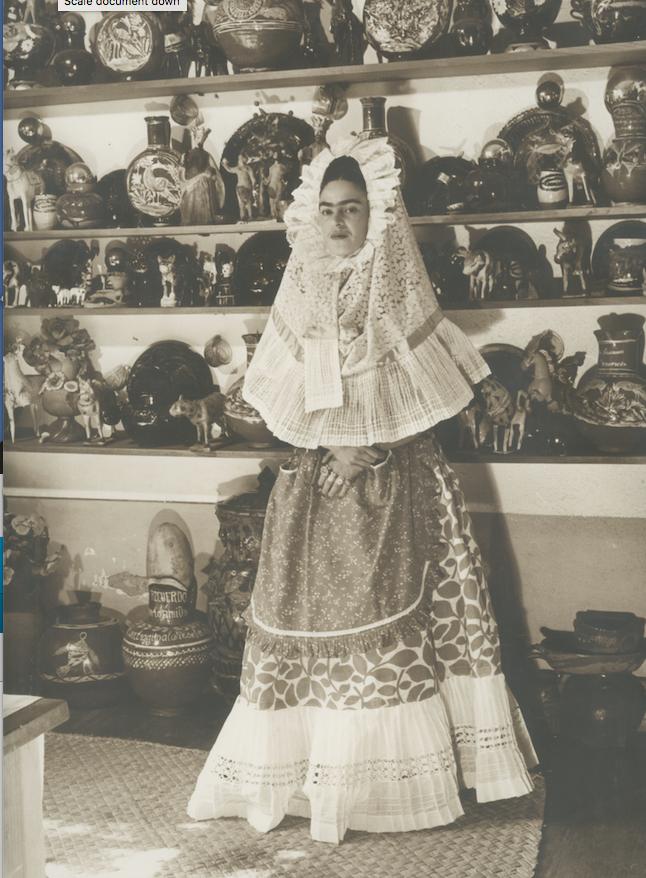 Frida Wearing Tehuana Dress was taken by Bernard G. Silberstein in 1940.(Courtesy Throckmorton Fine Art, New York)