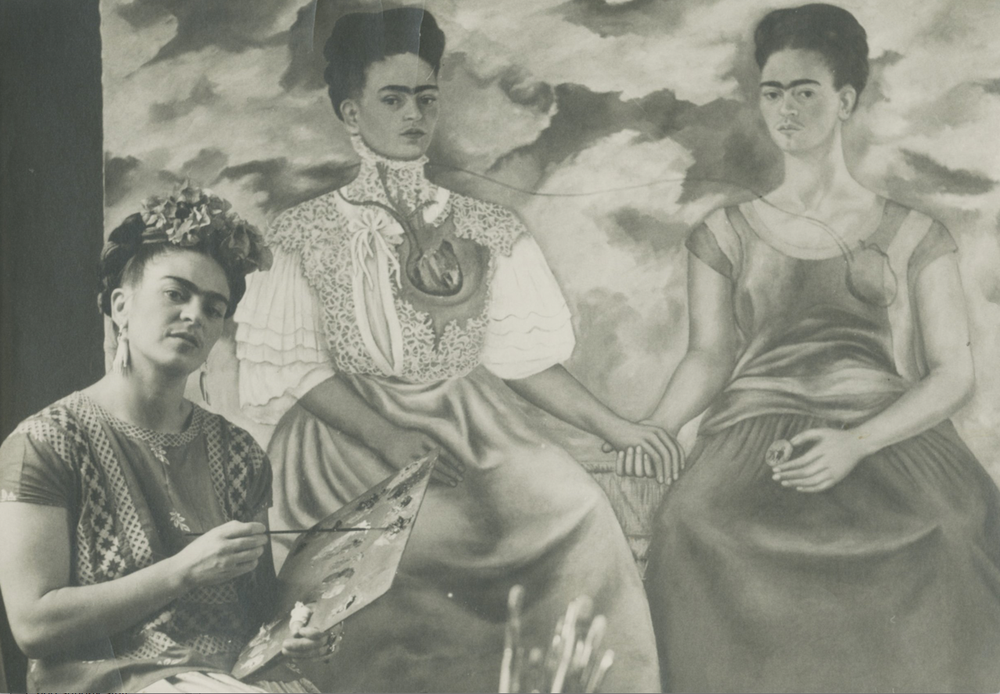 Nickolas Muray's 'Frida Painting The Two Fridas,' circa 1939, is one of the images taken in Frida Kahlo's studio.