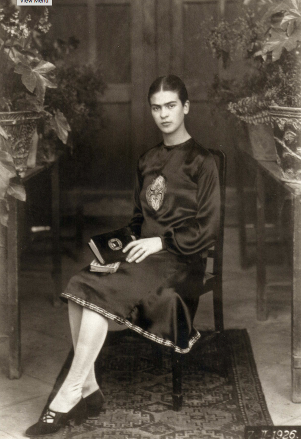 """Frida Kahlo's father, Guillermo Kahlo, took this photograph in 1926. The vintage gelatin silver print is titled """"Frida Kahlo at 18, Mexico."""" (Courtesy Throckmorton Fine Art, New York)"""