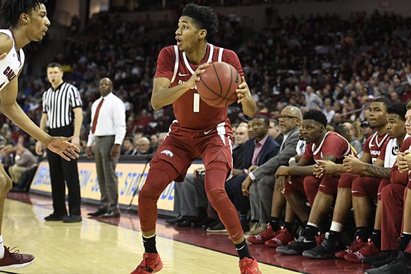 Arkansas guard Isaiah Joe looks to pass the ball during a game against South Carolina on Saturday, Feb. 9, 2019, in Columbia, S.C.