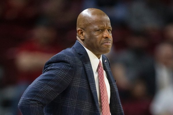 Mike Anderson, Arkansas head coach, reacts in the first half vs Vanderbilt Tuesday, Feb. 5, 2019, at Bud Walton Arena in Fayetteville.