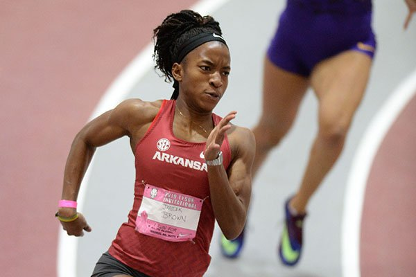 Arkansas' Janeek Brown competes Saturday, Feb. 9, 2019, in the 200 meters during the Tyson Invitational in the Randal Tyson Track Center in Fayetteville.