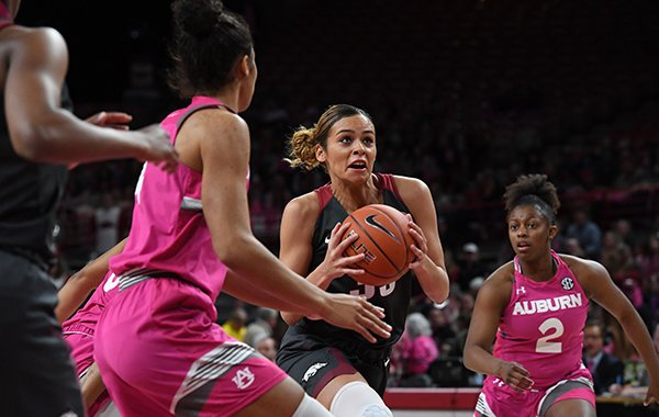 Arkansas guard Chelsea Dungee looks to shoot during a game against Auburn on Sunday, Feb. 10, 2019, in Fayetteville.