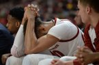 Arkansas forward Daniel Gafford reacts after a foul call against Georgia Tuesday, Jan. 29, 2019, during the first half of play in Bud Walton Arena. Visit nwadg.com/photos to see more photographs from the game.