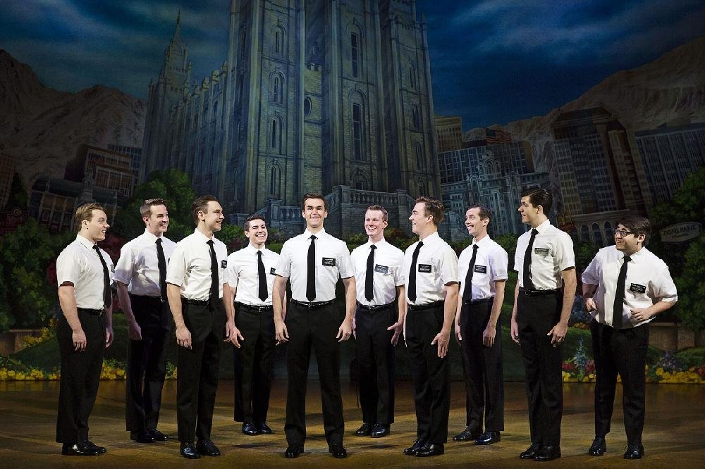 The elders of the Church of Jesus Christ of Latter-Day Saints sing and dance in The Book of Mormon. The national tour arrives this week at Little Rock's Robinson Center Performance Hall.