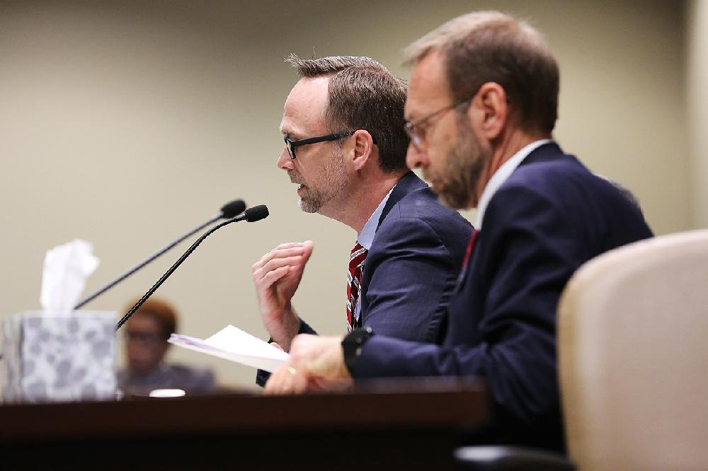 State Surgeon General Greg Bledsoe (left) and Nate Smith of the state Department of Health, on Wednesday spoke against the bill to widen the number of conditions eligible for medical marijuana treatment. Bledsoe and Smith cited a lack of research proving the effectiveness of cannabis and warned that some conditions could become worse when treated with marijuana products.