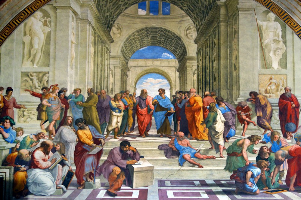 Raphael's School of Athens celebrates mankind's intellectual achievements and connection to the great minds of classical Greece.