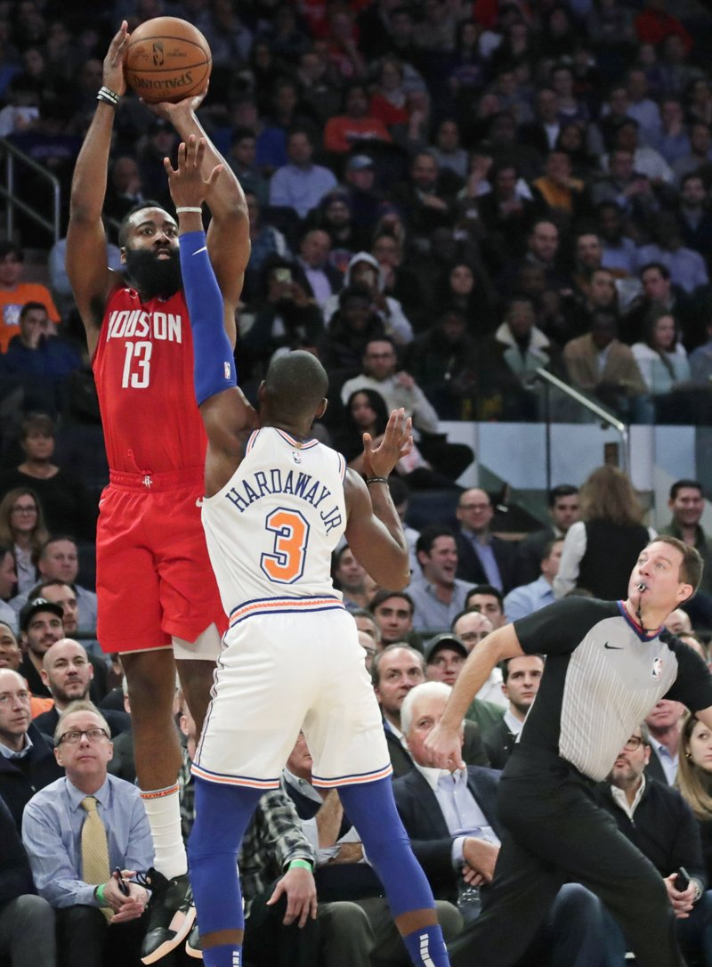 6febe4a04bf STEP BACK  Houston Rockets  James Harden (13) shoots over New York Knicks   Tim Hardaway Jr. (3) during the first half of a Jan. 23 game in New York.  Harden ...