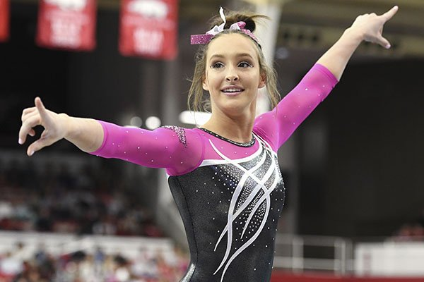Arkansas gymnast Kennedy Hambrick competes on the floor against Alabama during an NCAA Gymnastics meet, Feb. 8, 2019 in Fayetteville. (AP Photo/Michael Woods)