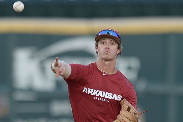 Arkansas shortstop Casey Martin throws during an exhibition game against Wichita State on Friday, Oct. 5, 2018, in Fayetteville.