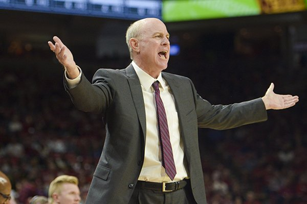 Mississippi State coach Ben Howland gestures from the sideline during a game against Arkansas on Saturday, Feb. 16, 2019, in Fayetteville.