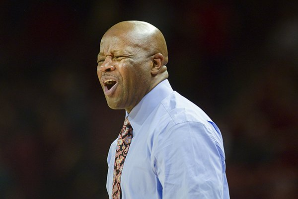 Arkansas coach Mike Anderson is shown during a game against Mississippi State on Saturday, Feb. 16, 2019, in Fayetteville.