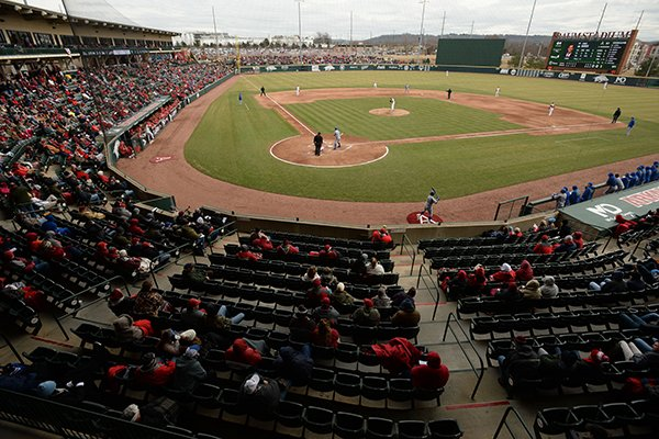 Arkansas fans fill the stands to watch the Razorbacks and Eastern Illinois Saturday, Feb. 16, 2019 at Baum-Walker Stadium in Fayetteville.