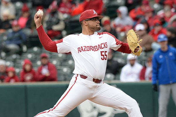 Arkansas starter Isaiah Campbell delivers to the plate against Eastern Illinois Saturday, Feb. 16, 2019, during the second inning at Baum-Walker Stadium in Fayetteville. Visit nwadg.com/photos to see more photographs from the games.