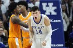 Kentucky's Tyler Herro (14) reacts to a play during the second half of the team's NCAA college basketball game against Tennessee in Lexington, Ky., Saturday, Feb. 16, 2019. Kentucky won 86-69. (AP Photo/James Crisp)