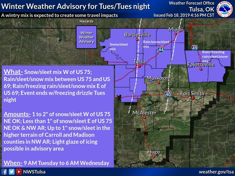 Winter weather advisory issued for portions of Northwest