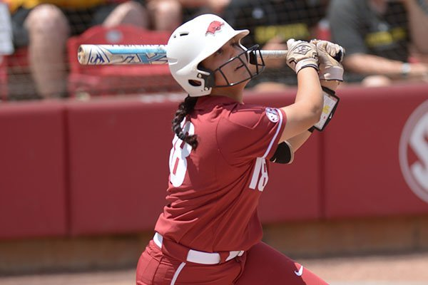 Arkansas' Ashley Diaz bats during a game against Wichita State on Saturday, May 19, 2018, during the NCAA Fayetteville Softball Regional at Bogle Park in Fayetteville.