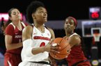 Georgia guard Taja Cole (0) looks for a shot against Arkansas during an NCAA college basketball game in Athens, Ga., Thursday, Feb. 21, 2019. (Joshua L. Jones/Athens Banner-Herald via AP)
