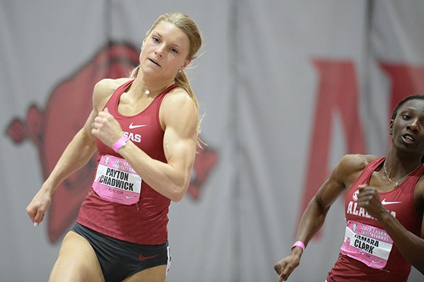 Arkansas' Payton Chadwick competes Saturday, Feb. 9, 2019, in the 200 meters during the Tyson Invitational in the Randal Tyson Track Center in Fayetteville.