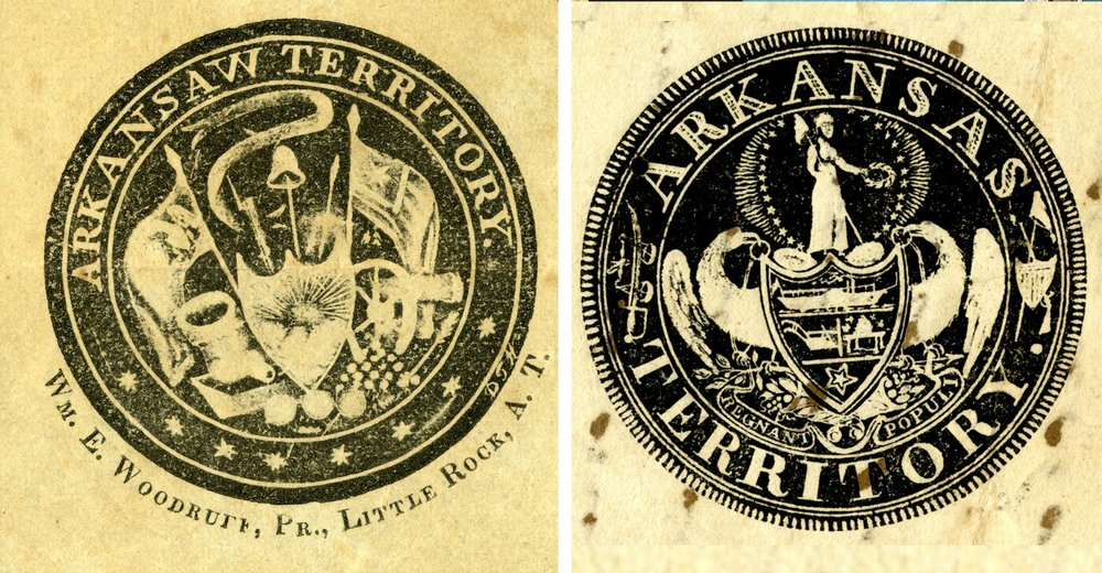 "LEFT: William Woodruff's unofficial 1832 seal of the ""Arkansaw Territory,"" from the LC Gulley Collection of the Arkansas State Archives. RIGHT: The official 1835 territorial seal, from the Robert Trimble Collection at the Arkansas State Archives."