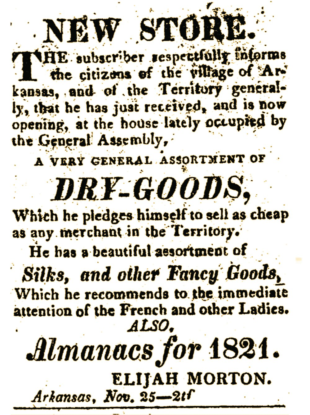 Ad from the Dec. 23, 1820, Arkansas Gazette published by William Woodruff in the Arkansas Territory.