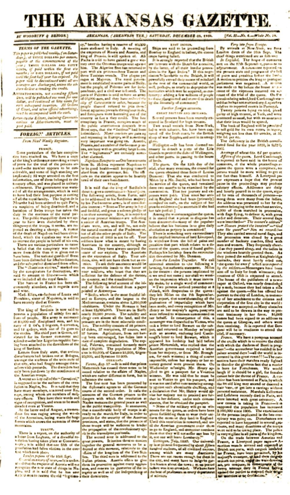 Page one of William Woodruff's Dec. 23, 1820, four-page Arkansas Gazette. (Arkansas Democrat-Gazette)